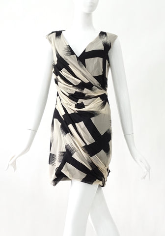 Diane Von Furstenberg Black and White Chiffon Dress 4