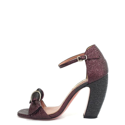 Bally Burgundy Metallic Heeled Sandals 37.5