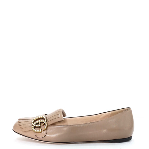Gucci Marmont Deep Nude Leather Fringe Loafers 38