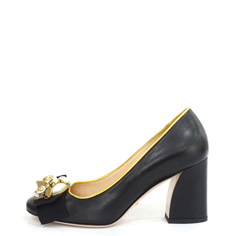 Gucci Black Bee Embellished Leather Mid-Pumps 35.5