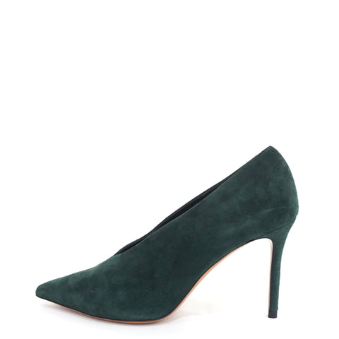Celine Forest Green Suede V-Neck Pumps 36