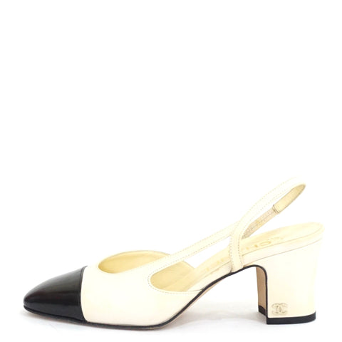 Chanel White and Black Cap-Toe Slingbacks 35