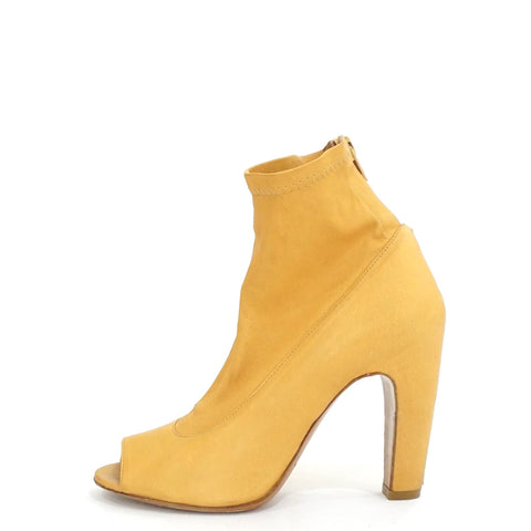 Maison Margiela Camel Stretch Peep-Toe Booties 36