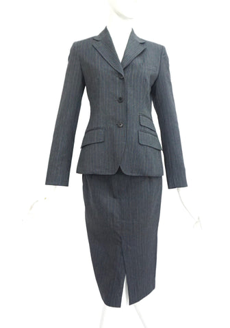 PS by Paul Smith Gray Stripes Skirt Suit Set 38