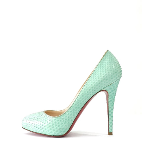 Christian Louboutin Mint Green Python Pumps 36.5