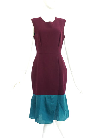 Roksanda Ilincic Maroon Green Color Block Dress 10
