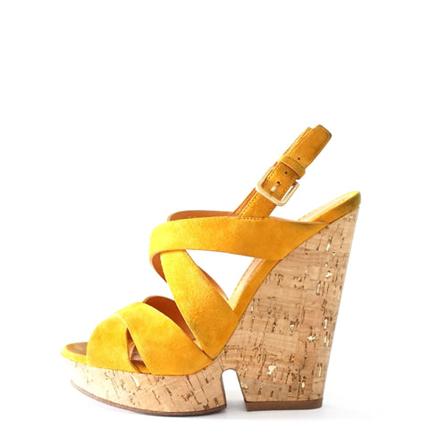 YSL Cork Yellow Wedges 35