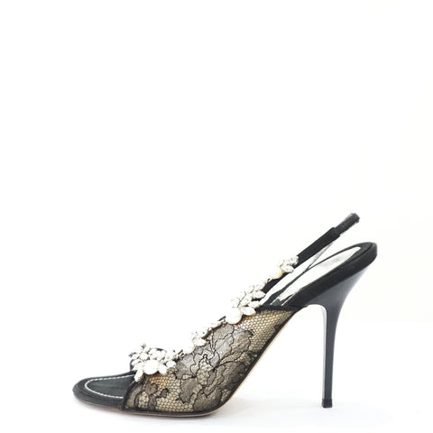 Rene Caovilla Black Lace Evening Sandals 36.5