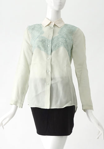 Carven Light Blue Lace Button Down Shirt 36