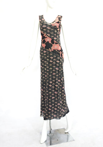 Kenzo Jeans Black and Pink Floral Printed Long Dress S
