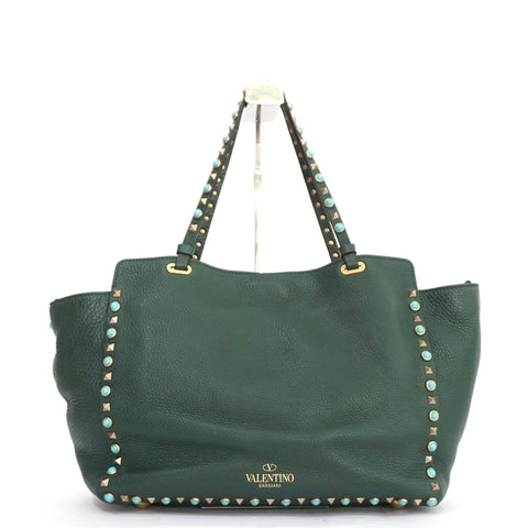Valentino Pebbled Leather Green Rockstud Trapeze Bag