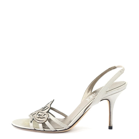 Badgley Mischka Silver Satin Sandals 35.5
