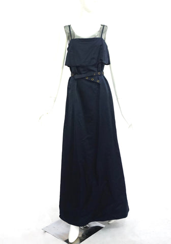 Lavender Label By Vera Wang Navy Long Dress with Belt 38