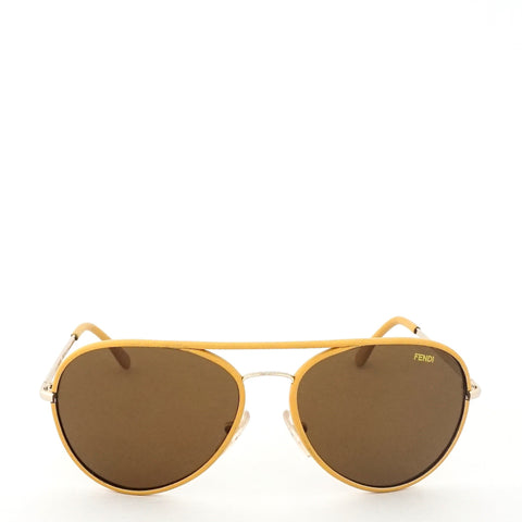 Fendi Maserati Yellow Frame Aviator Sunglasses