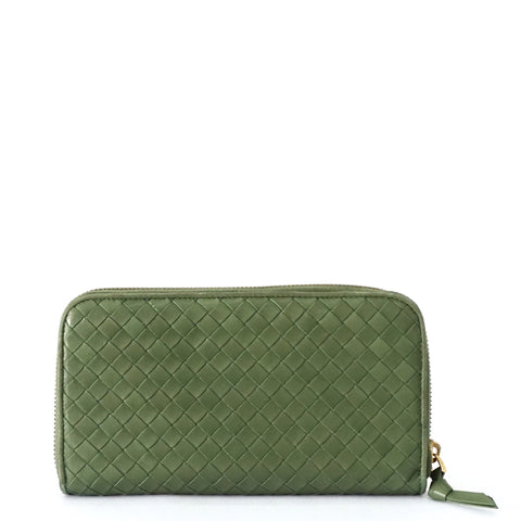 Bottega Veneta Green Zip Wallet