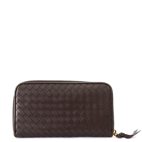 Bottega Veneta Brown Zip Wallet