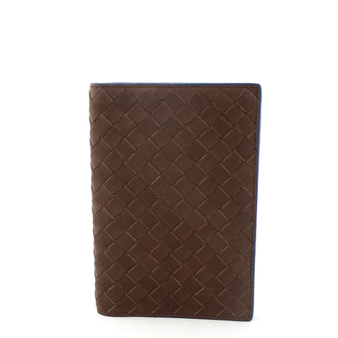 Bottega Veneta Brown Blue Passport Cover