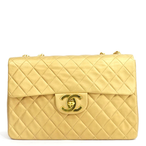 Chanel Gold Lambskin Vintage Maxi Flapbag GHW