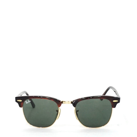 Ray Ban Clubmaster Unisex Tortoise Frame Green Classic Lens Sunglasses