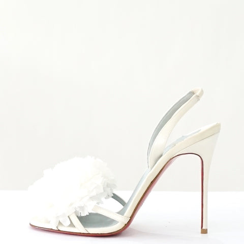 Christian Louboutin White Flowery Sandals 39