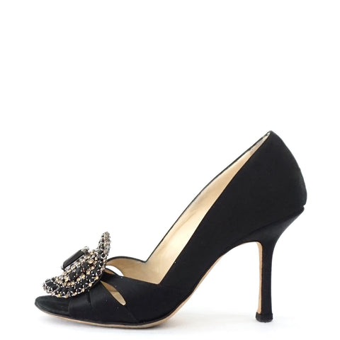 Jimmy Choo Black Beaded Silk Satin 36