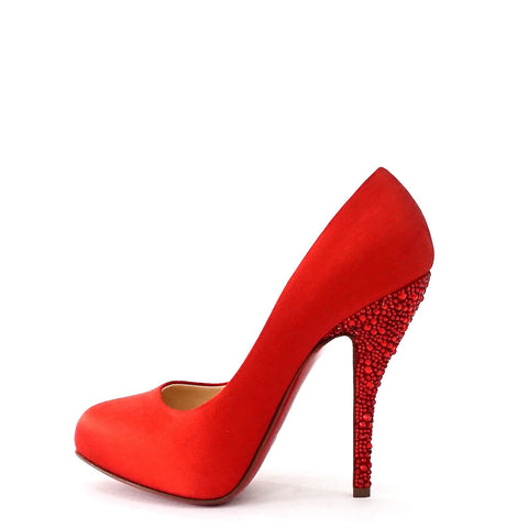 Christian Louboutin Red Satin Pumps 35.5