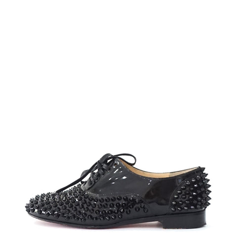 Christian Louboutin Black Studs Lace Up Shoes 37