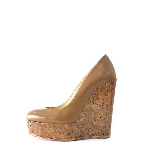 Christian Louboutin Brown Wedge Pumps 36