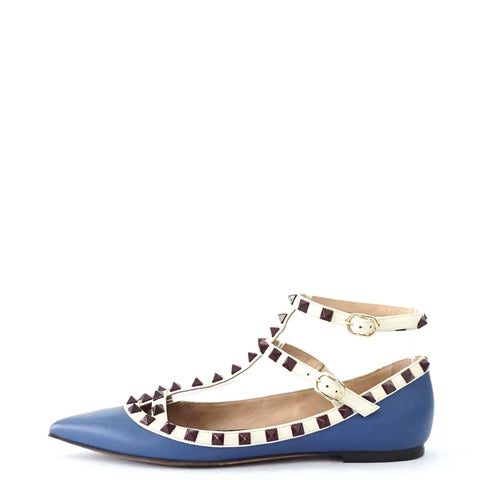 Valentino Blue with Purple Rockstud Flat Shoes 37
