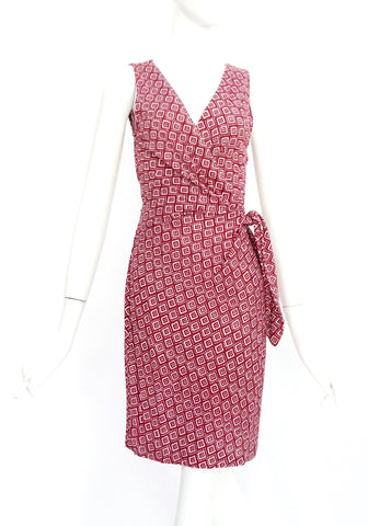 Diane Von Furstenberg Maroon Printed Sleeveles Dress 4