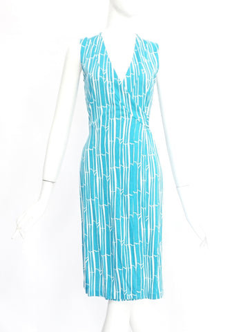 Diane Von Furstenberg Blue and White Printed Sleeveles Wrap Dress 0