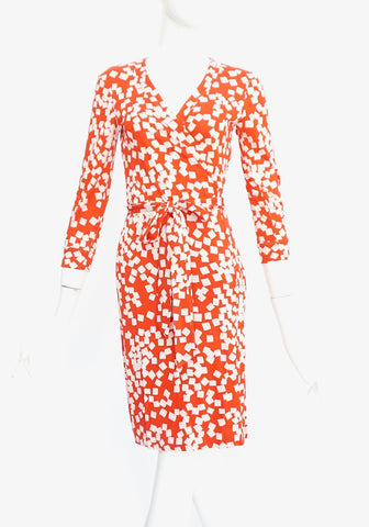 Diane Von Furstenberg Red and White Printed Long Sleeved Wrap Dress 2