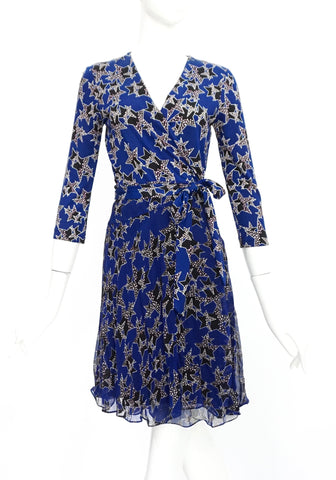 Diane Von Furstenberg Blue Star Print Long Sleeved Wrap Dress 2