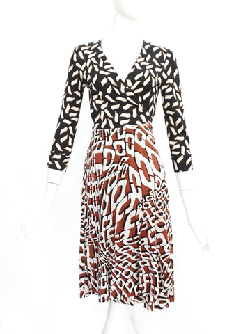 Diane Von Furstenberg Black, White and Brown Printed Long Sleeved Wrap Dress 2