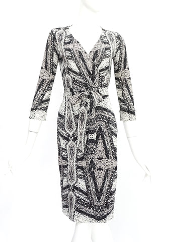 Diane Von Furstenberg Black and White Printed Long Sleeved Wrap Dress 2