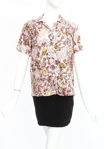 Burberry Pink Floral Silk Top UK 4