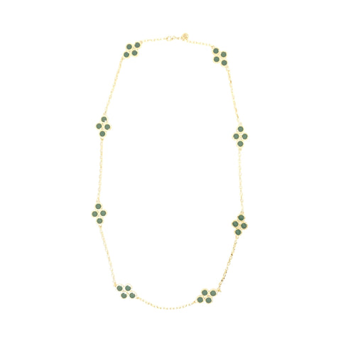 Tory Burch Gold and Green Cole Enamel Clover Necklace