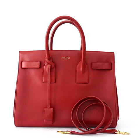 Saint Laurent Red Small Sac De Jours Bag