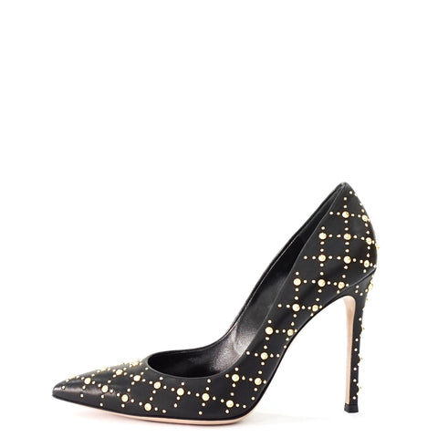 Gianvito Rossi Black Gold Studded Pointy Pumps 38.5