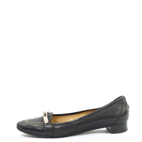 Hermes Black Leather Flats 37.5