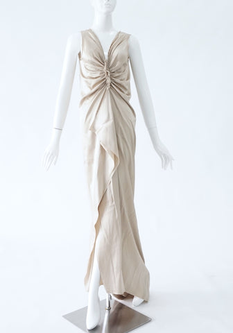 Lanvin Champagne Gold Evening Dress (Size 36)