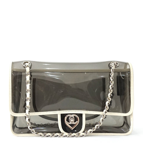 Chanel Transparent Vinyl White Medium Flapbag