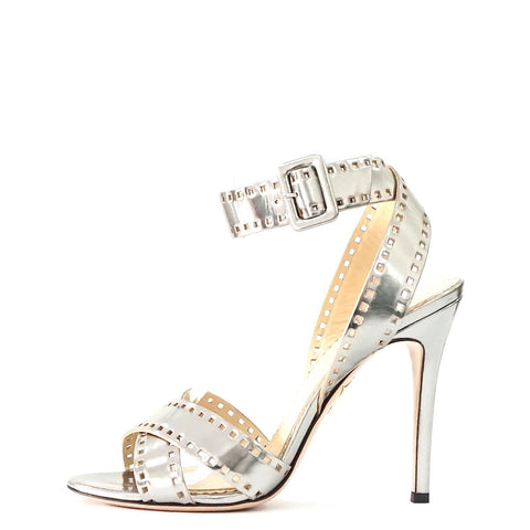 Charlotte Olympia Silver Strappy Sandals 38.5