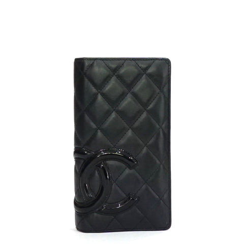 Chanel Black and Pink Quilted Ligne Cambon Wallet