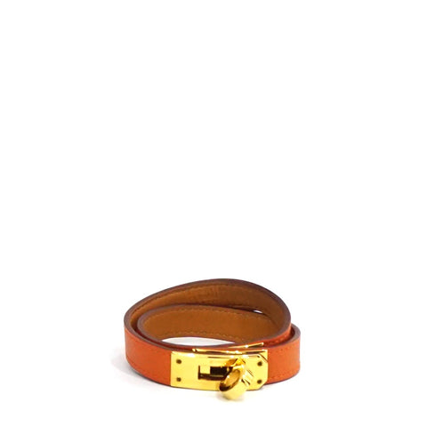 Hermes Orange Kelly Double Tour Bracelet GHW