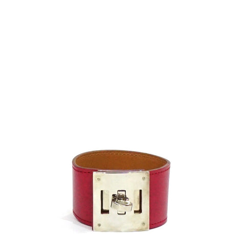 Hermes Rouge Vif Kelly Dog Bracelet PHW