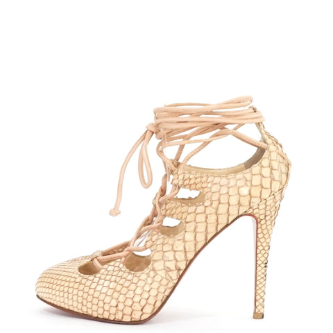 Christian Louboutin Nude Python Bloody Mary Pumps 38.5