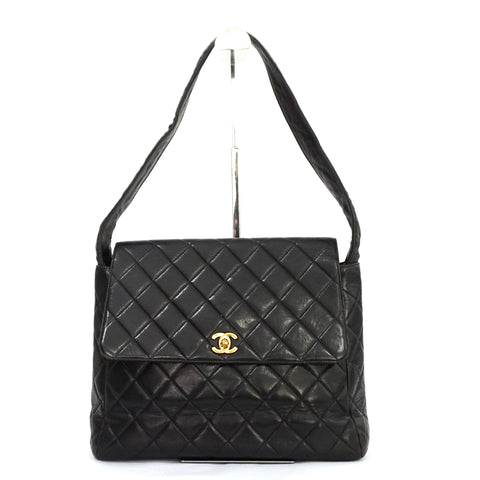 Chanel Vintage Quilted Lambskin Leather Shoulder Bag