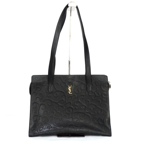 YSL Vintage Arabesque Black Leather Shoulder Bag