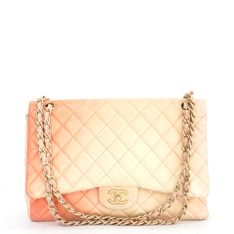 Chanel Single Flap Maxi Pink Gradual Lambskin Leather Shoulder Bag